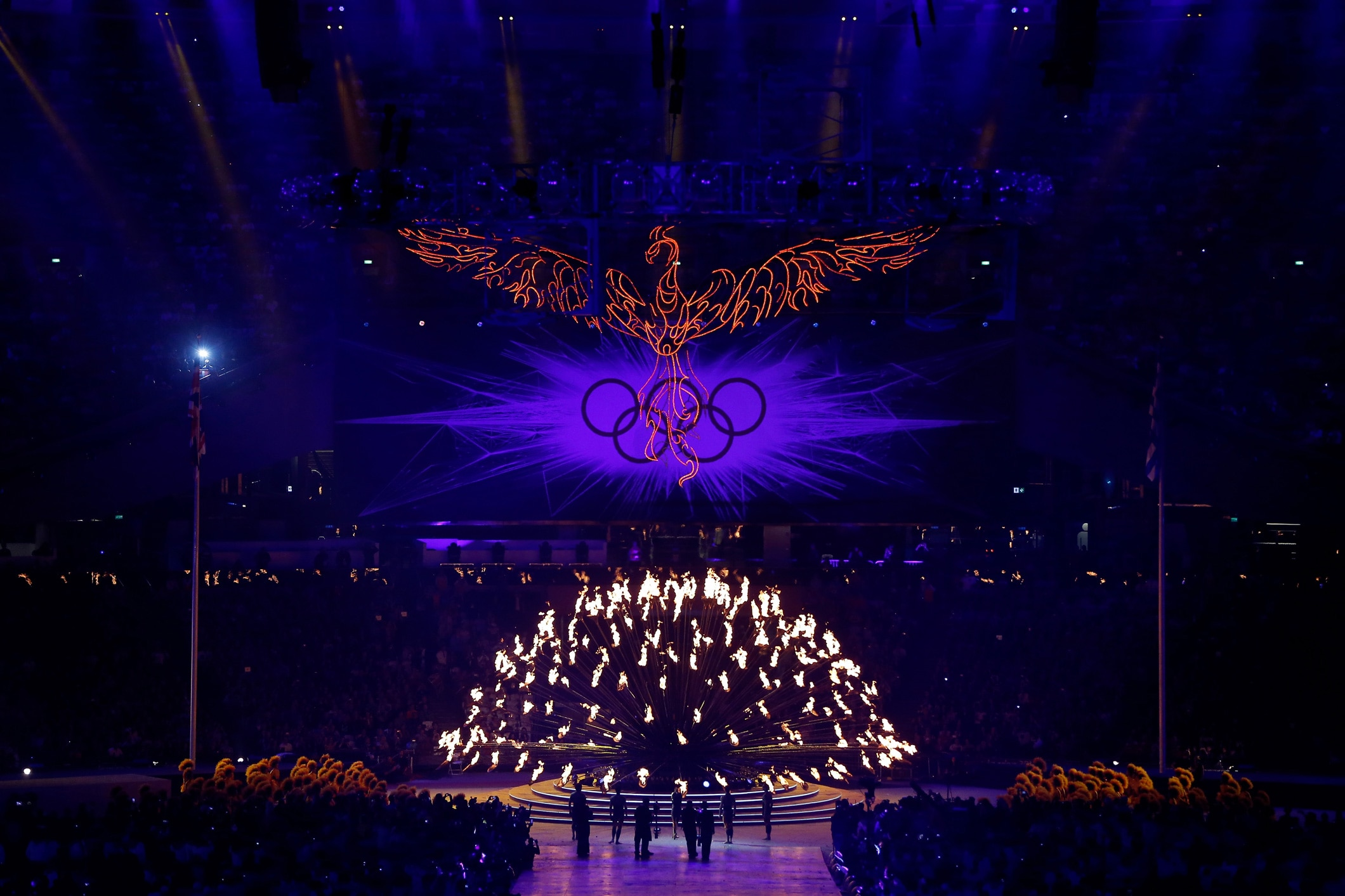 A phoenix is suspended over the Olympic Cauldron at the Closing ceremony at London 2012
