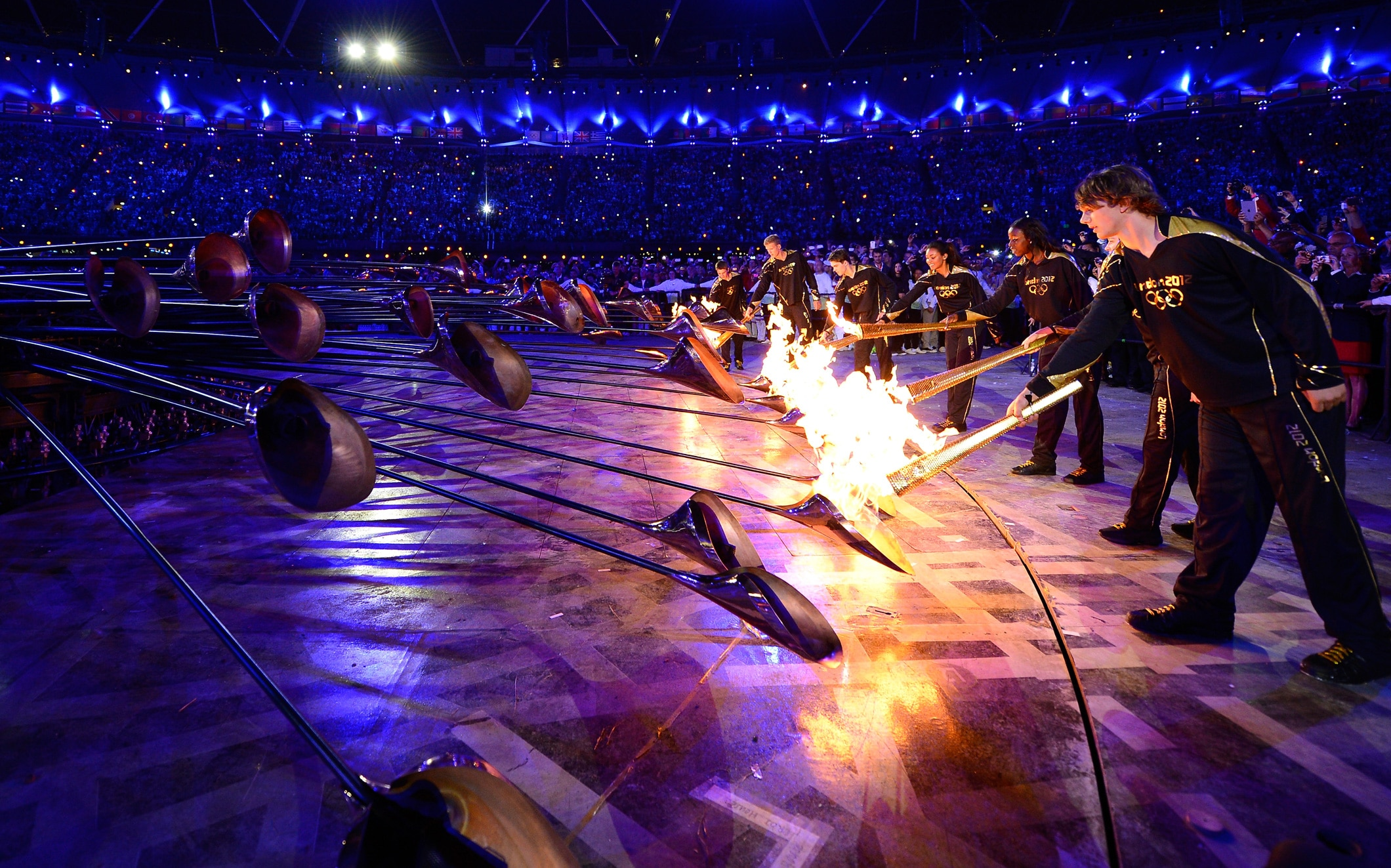 The Olympic Cauldron is lit during the Opening Ceremony of the London 2012