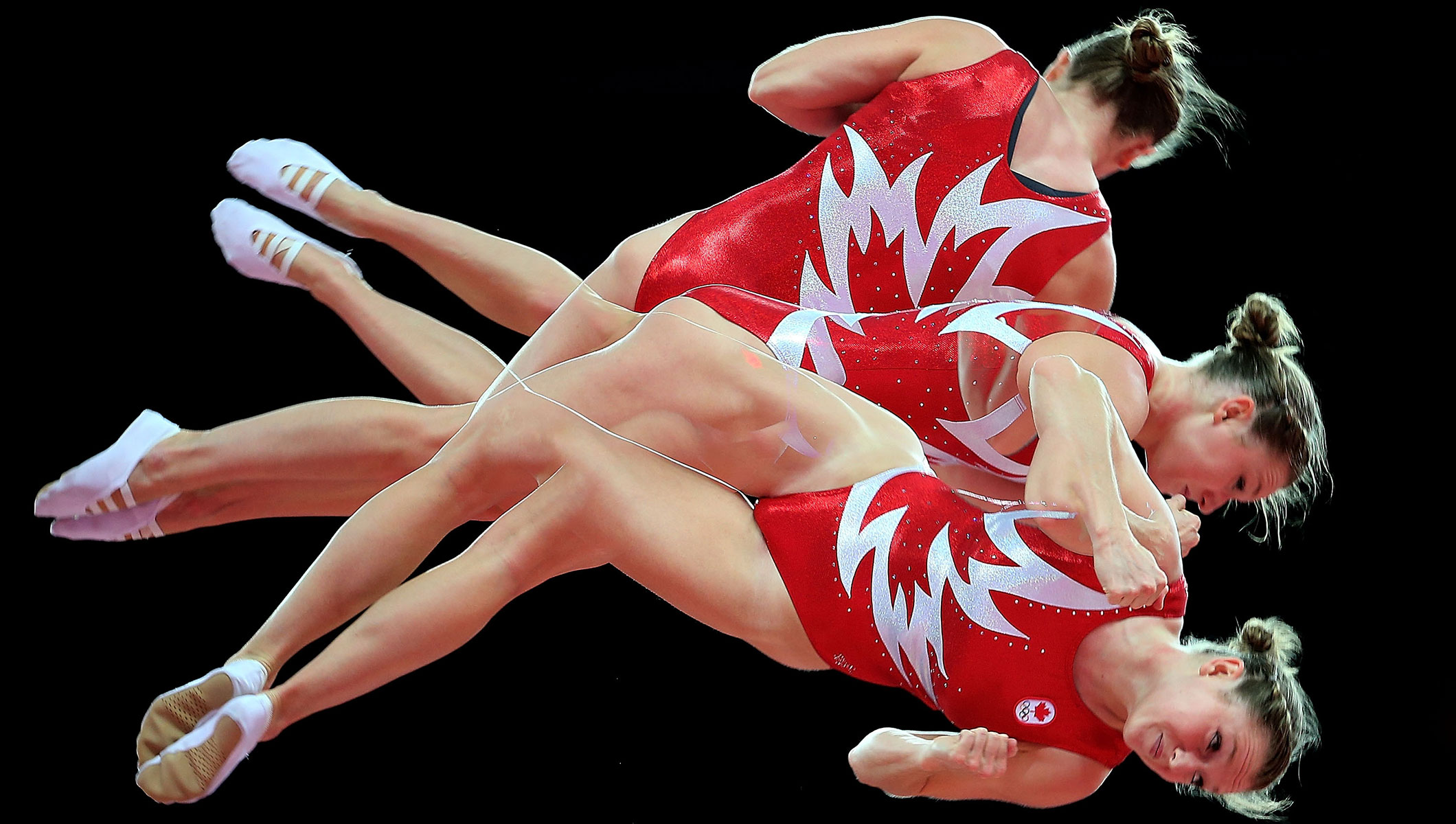 Multiple exposure photo of Rosannagh Maclennan of Canada at the London 2012 Olympic Games