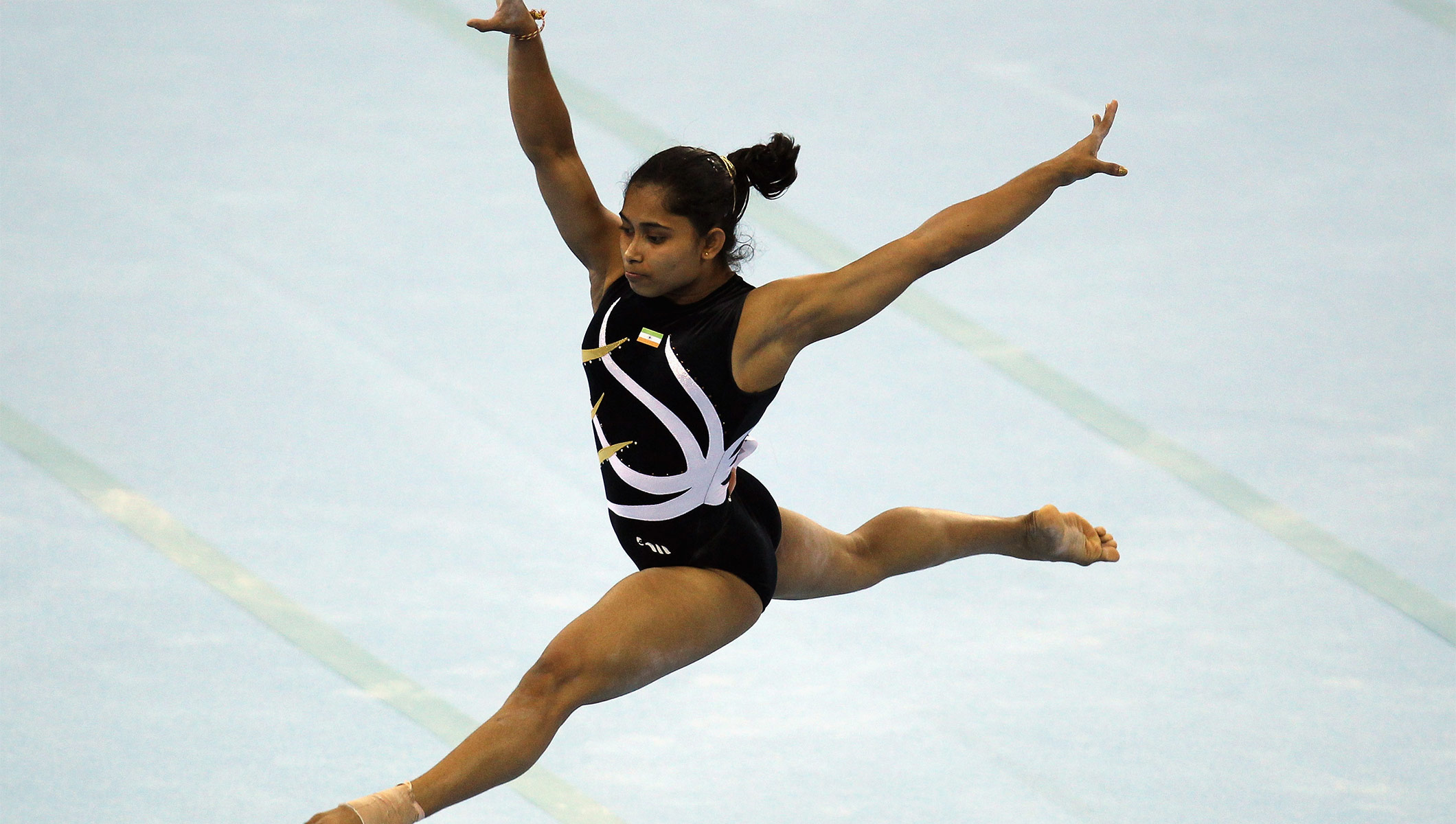 Dipa Karmakar performing on the floor