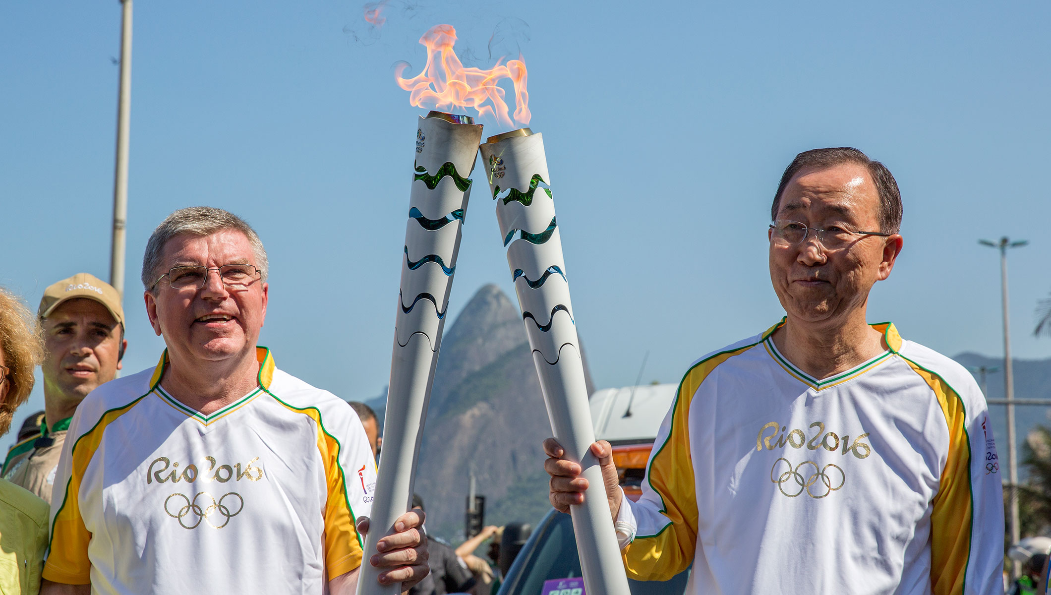 IOC President Thomas Bach and United Nations Secretary General Ban Ki-moon at the Rio 2016 Torch Relay