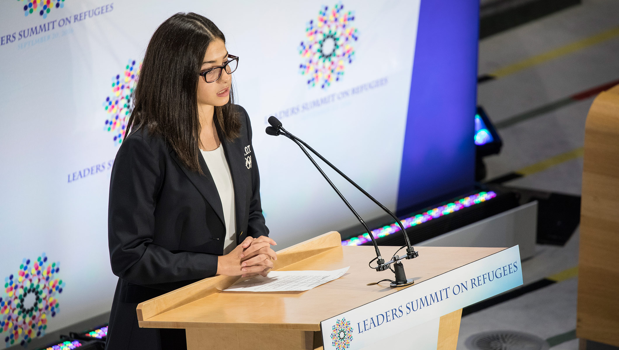 Refugee Olympic Team athlete introduces President of the United States at the Leaders' Summit on Refugees in New York