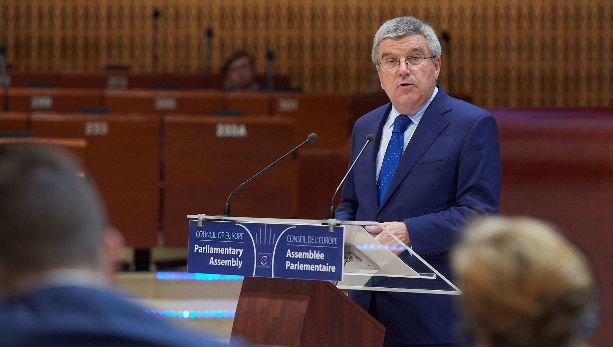 IOC President Thomas Bach at the Parliamentary Assembly of the Council of Europe (PACE) in Strasbourg