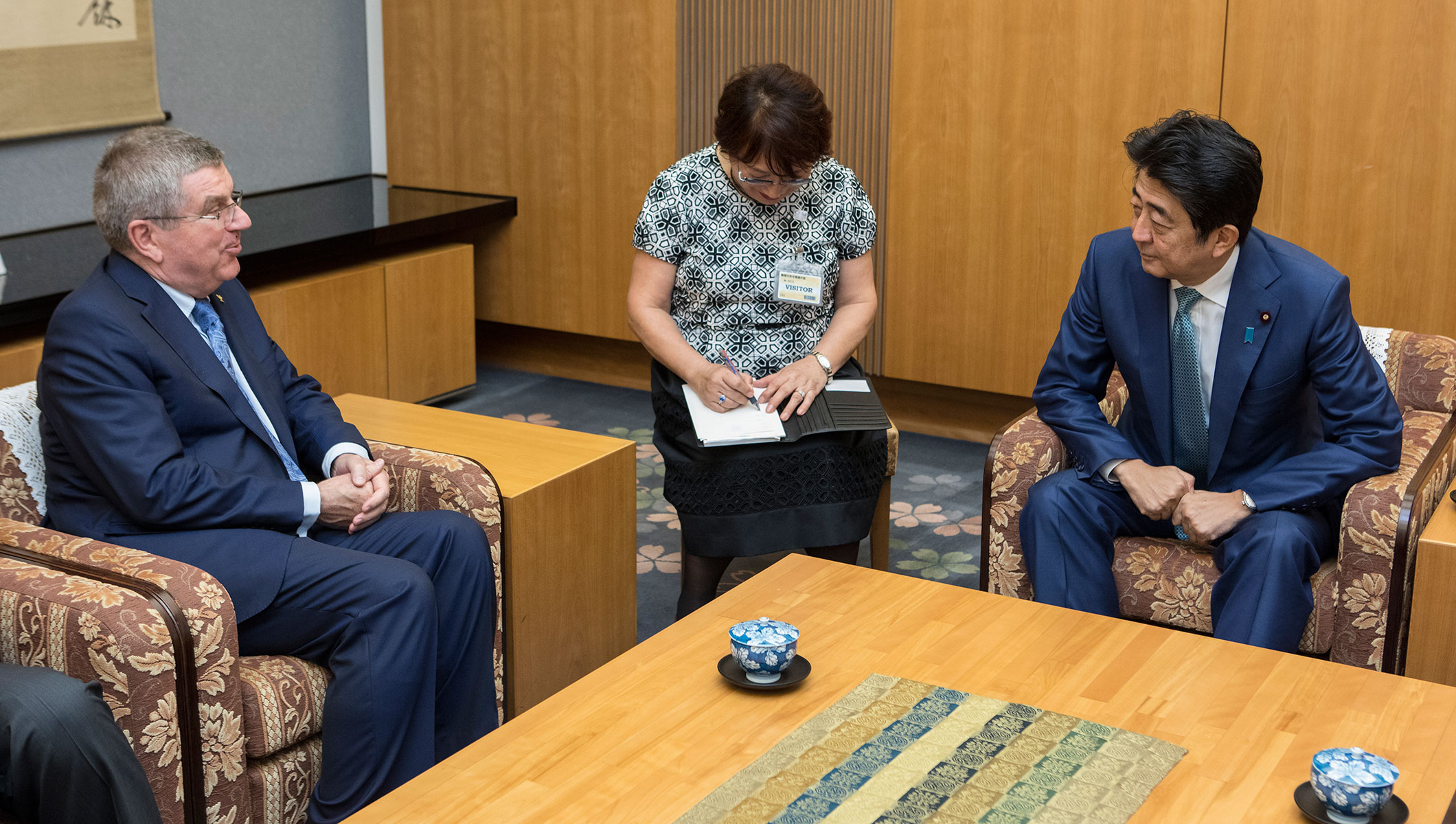IOC President Thomas Bach and Japanese Prime Minister Shinzo Abe