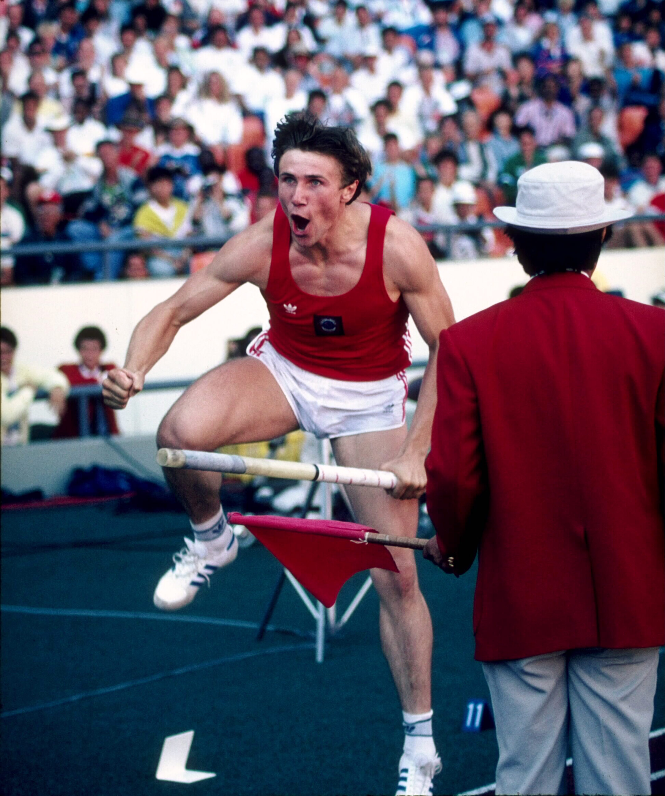 Sergei Bubka reacts during the opening height of the men's pole vault competition during the 1988 Summer Olympics Games on September 28, 1988 in Seoul, South Korea.