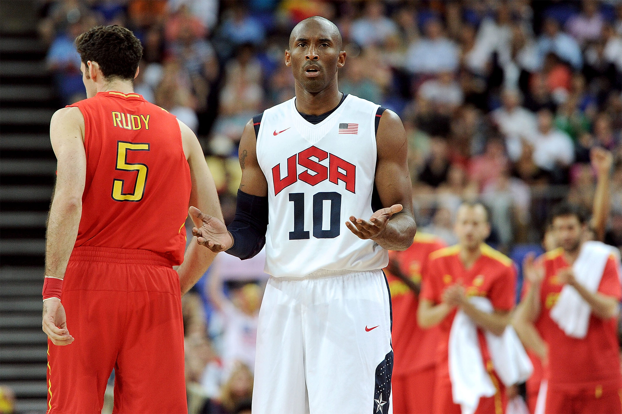 Kobe Bryant #10 of the United States reacts to a foul call during the Men's Basketball gold medal game between the United States and Spain on Day 16 of the London 2012 Olympics Games on August 12, 2012 in London, England.