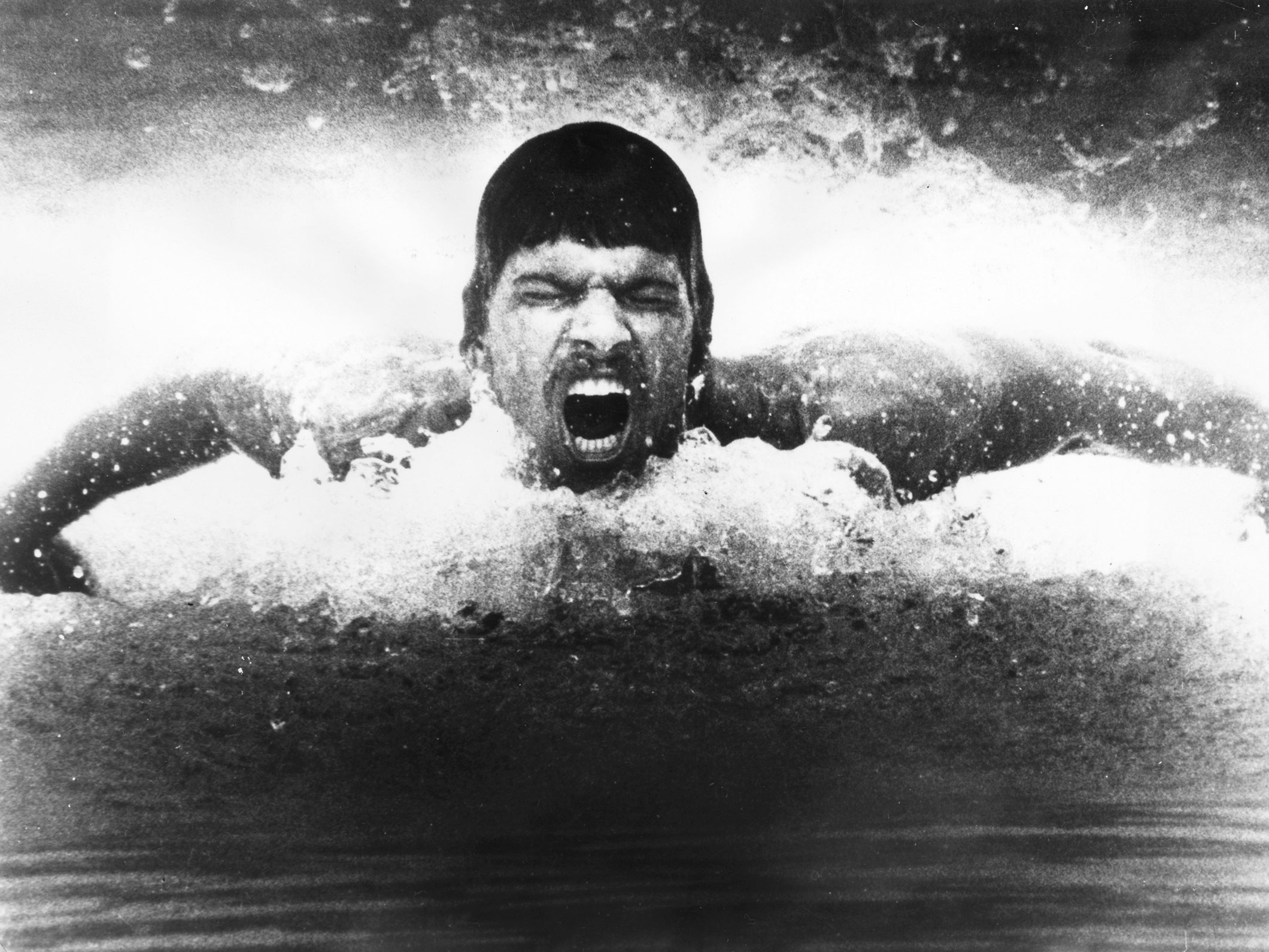 Olympic gold medal winner Mark Spitz in action during a training session.