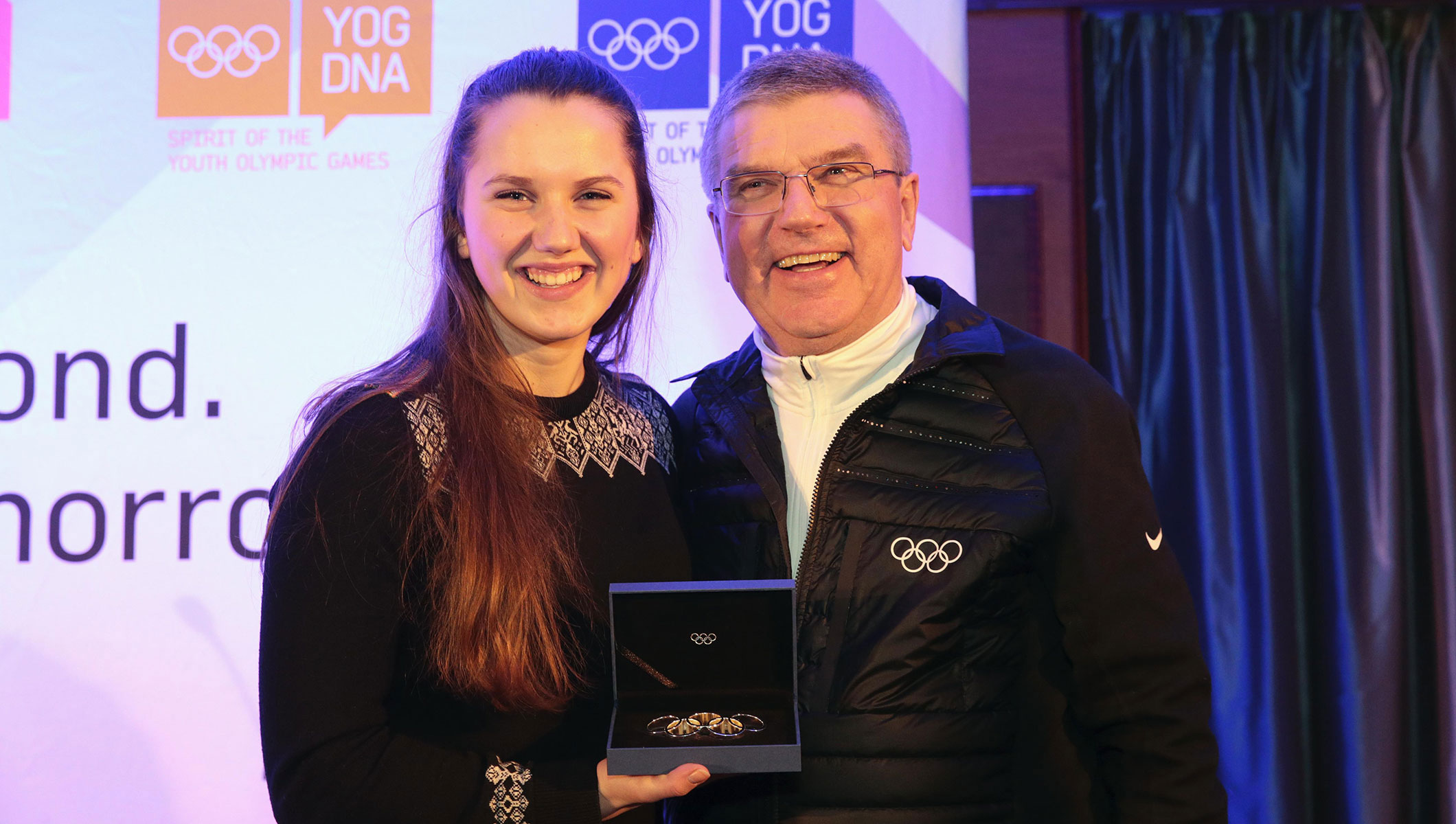 Runa Møller Tangstad and IOC President Thomas Bach