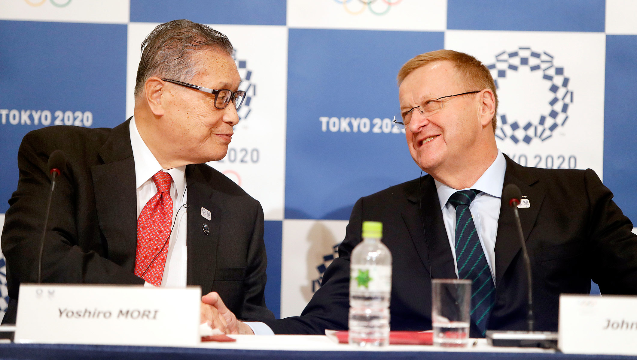 Tokyo 2020 President Yoshiro Mori and the Chair of the Coordination Commission, John Coates.