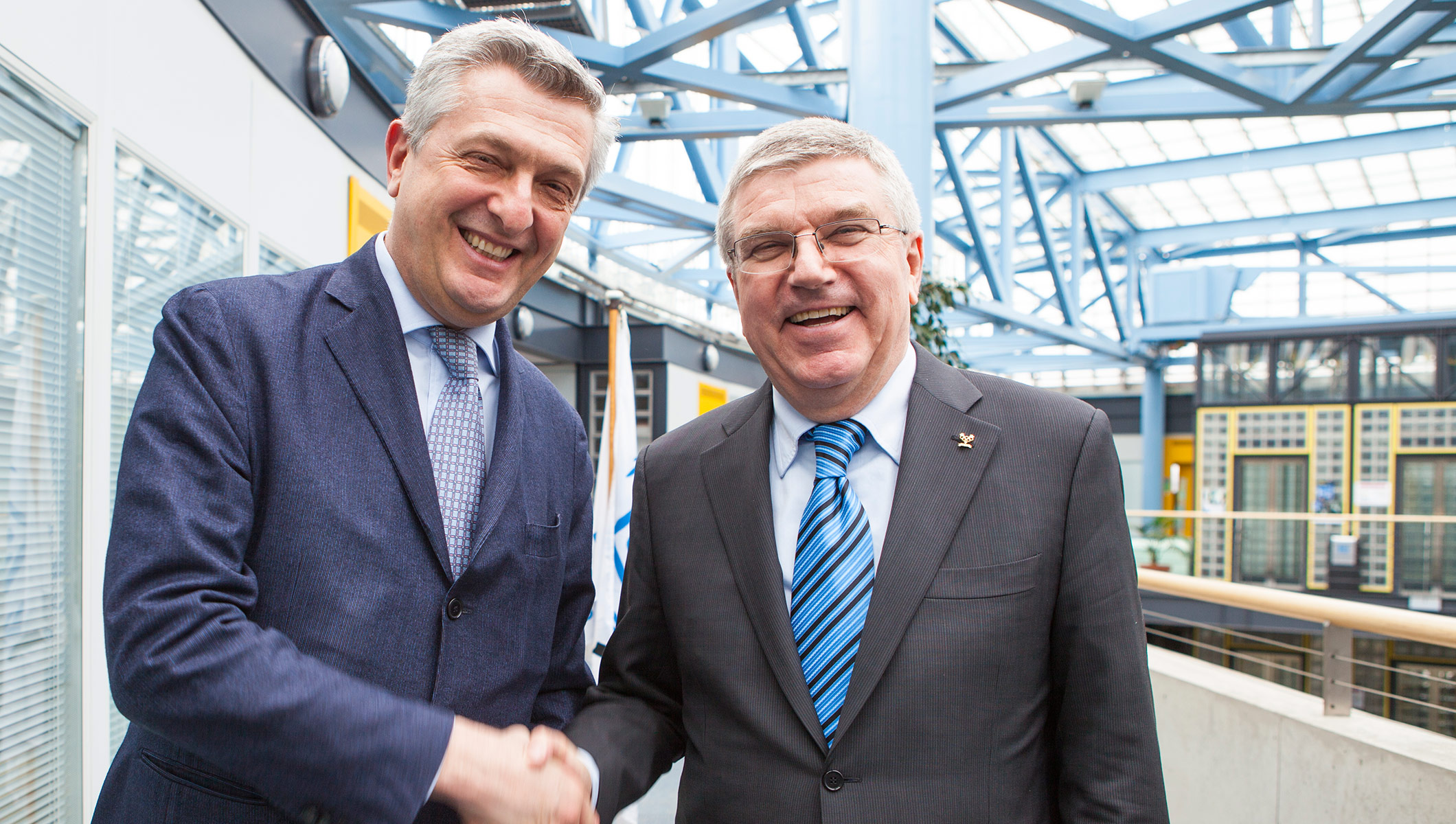UN High Commissioner for Refugees Filippo Grandi meets with International Olympic Comittee President Thomas Bach
