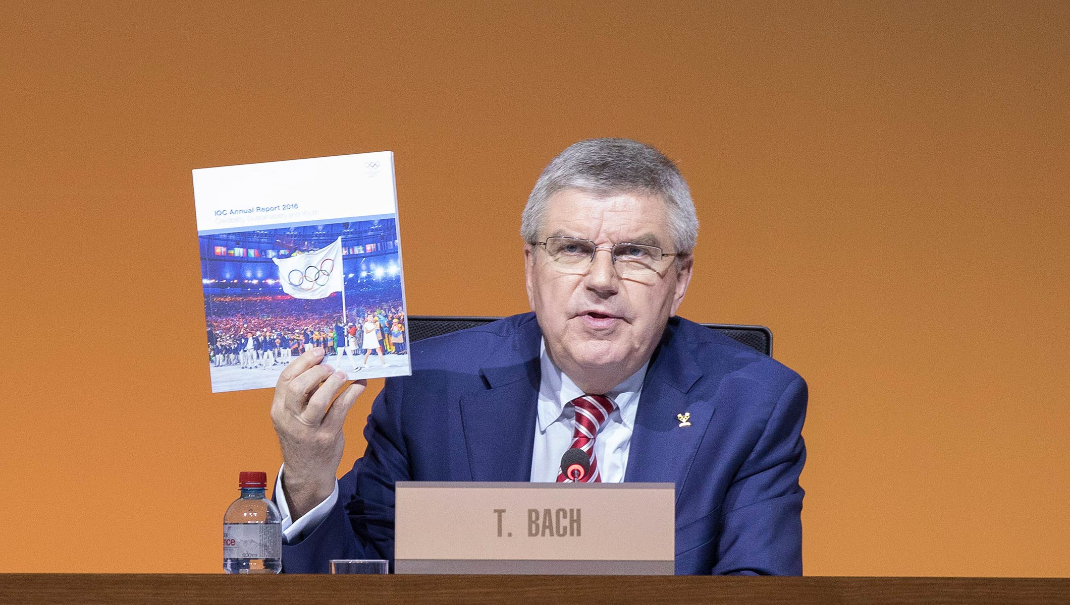 IOC President Thomas Bach presenting the IOC Annual Report 2016 at the 130th IOC Session in Lausanne
