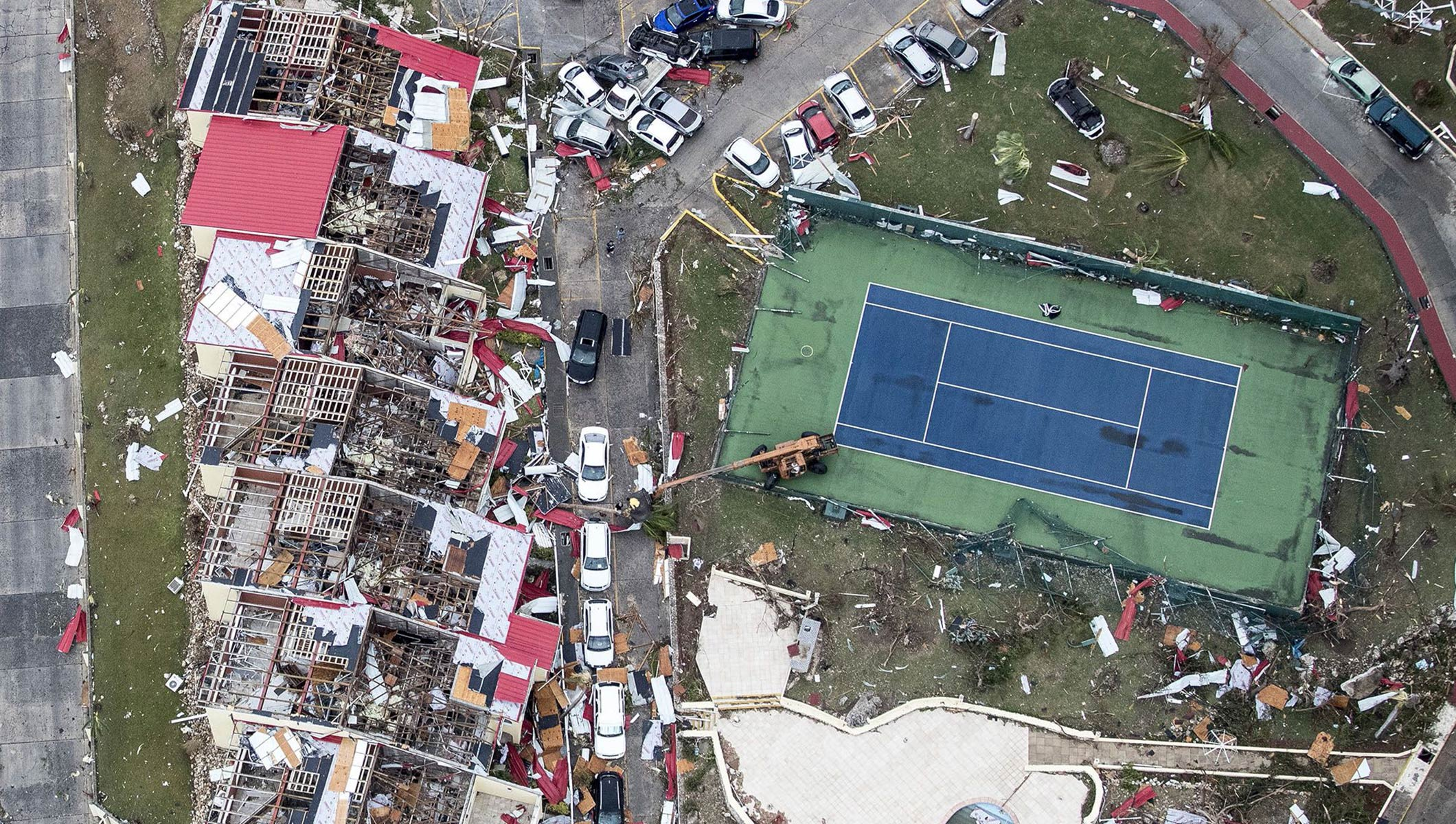 An aerial photography taken and released by the Dutch department of Defense on September 6, 2017 shows the damage of Hurricane Irma, on the Dutch Caribbean island of Sint Maarten.