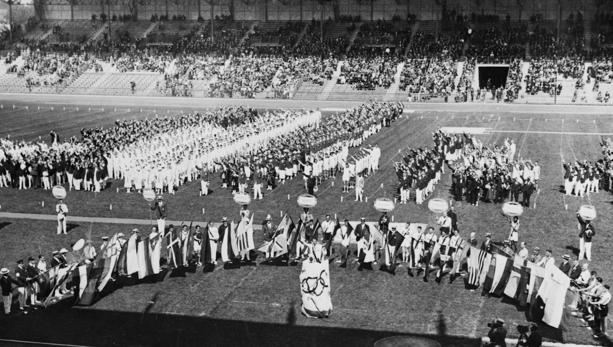 Opening ceremony of the first Winter Olympic Games, 1924, Chamonix, France