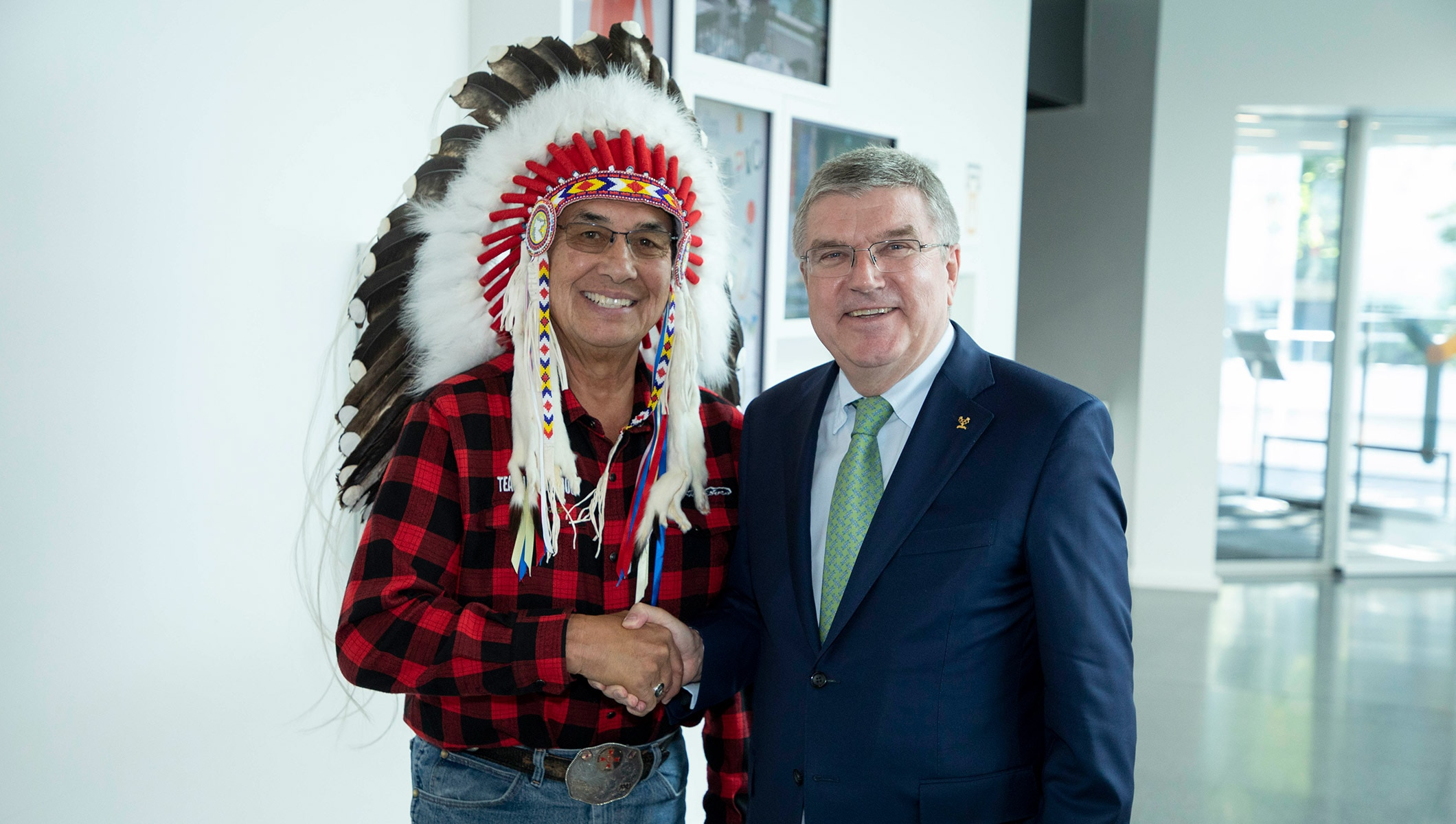 Thomas BACH, IOC President meets with Honorary Chief Littlechild in Lausanne, 2018