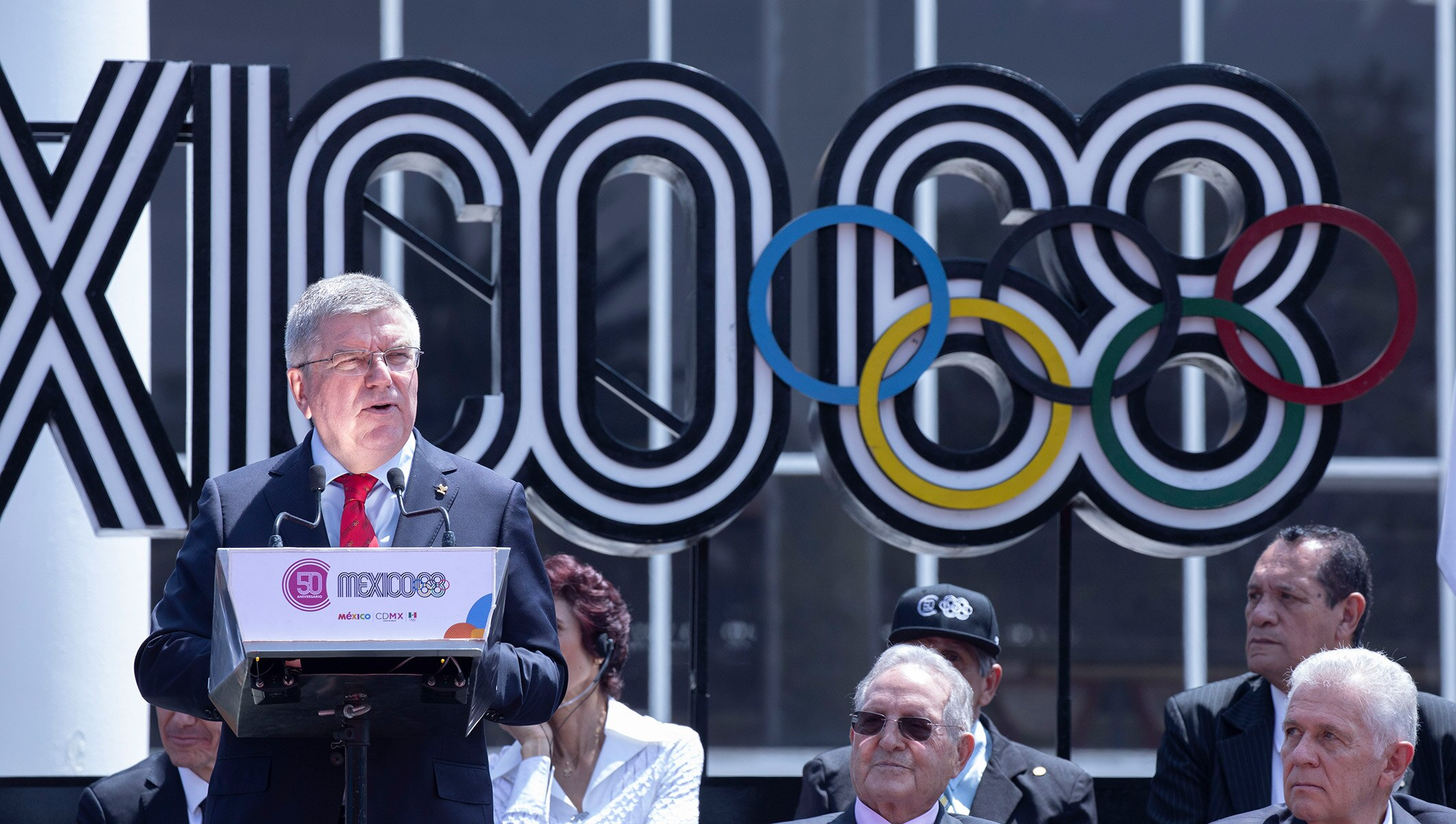 Thomas Bach, IOC President attends the celebration of the 50th Anniversary of the Mexico 1968 Olympics in Mexico City