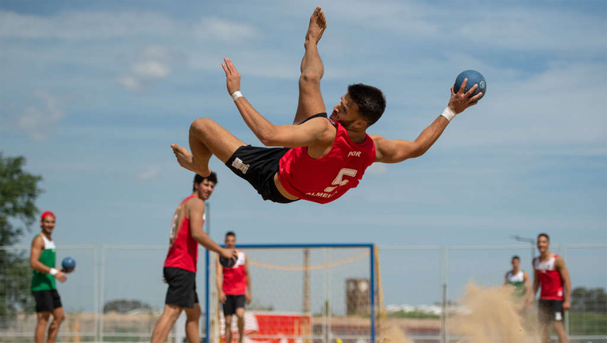 Airborne athletes make for exciting debut of beach handball