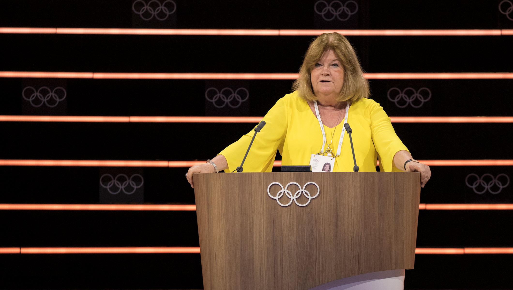 134th IOC Session - Gunilla Lindberg presenting the PyeongChang 2018 report