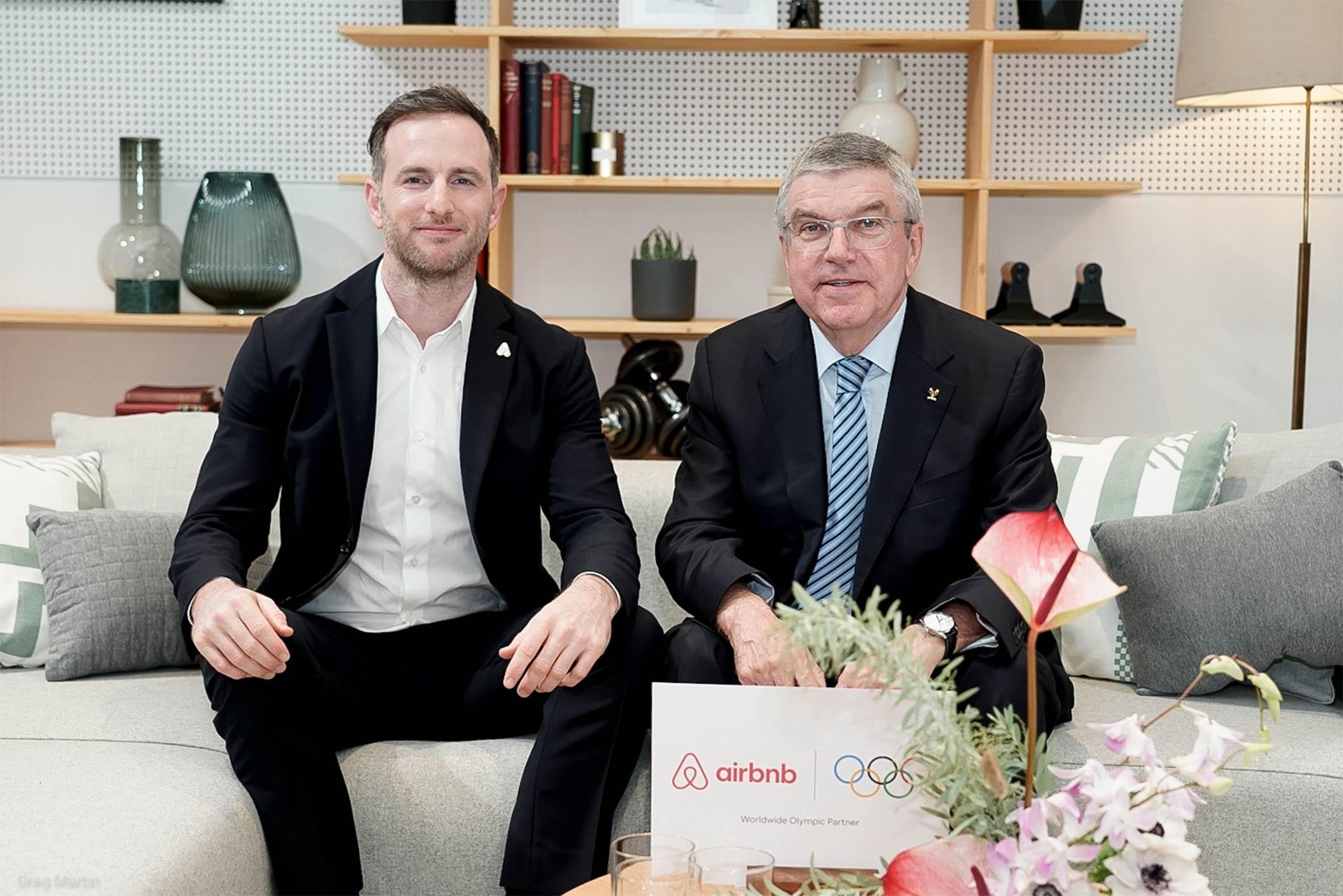 Airbnb Co-Founder Joe Gebbia and IOC President Thomas Bach