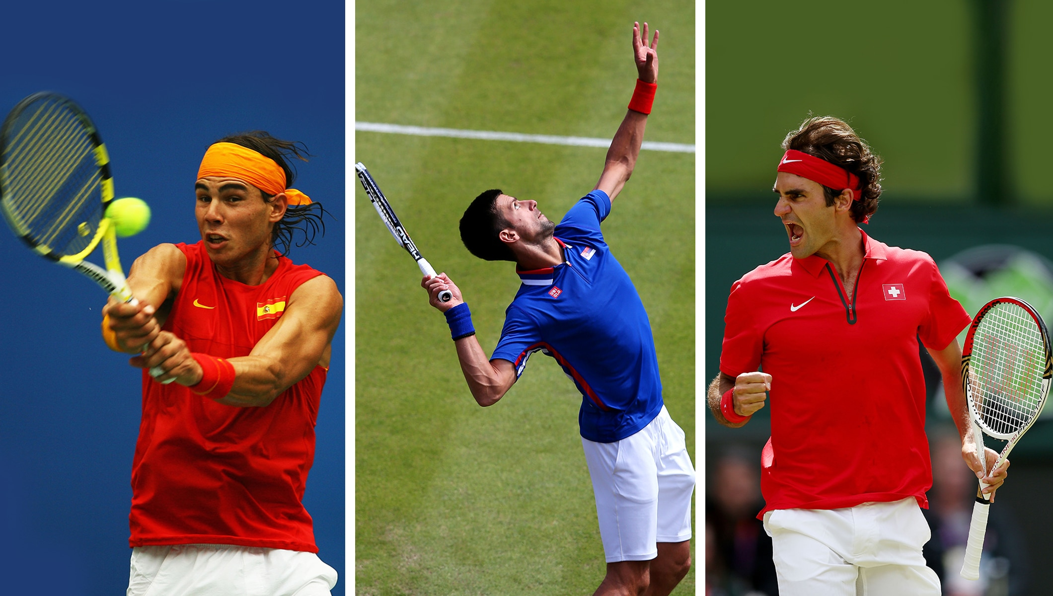 Rafael Nadal, Novak Djokovic and Roger Federer