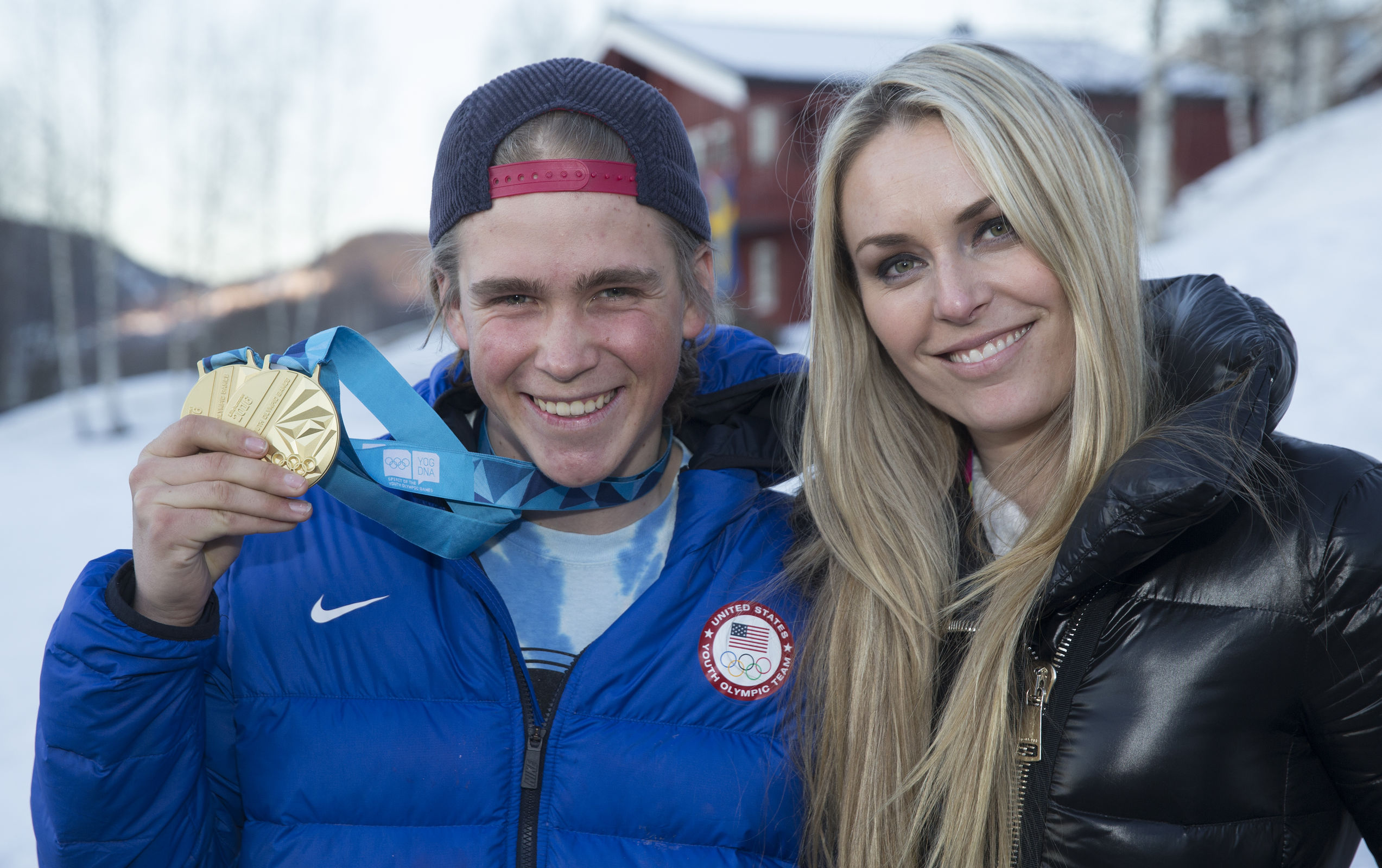Double Youth Olympic Games gold medallist River Radamus meets Lindsey Vonn