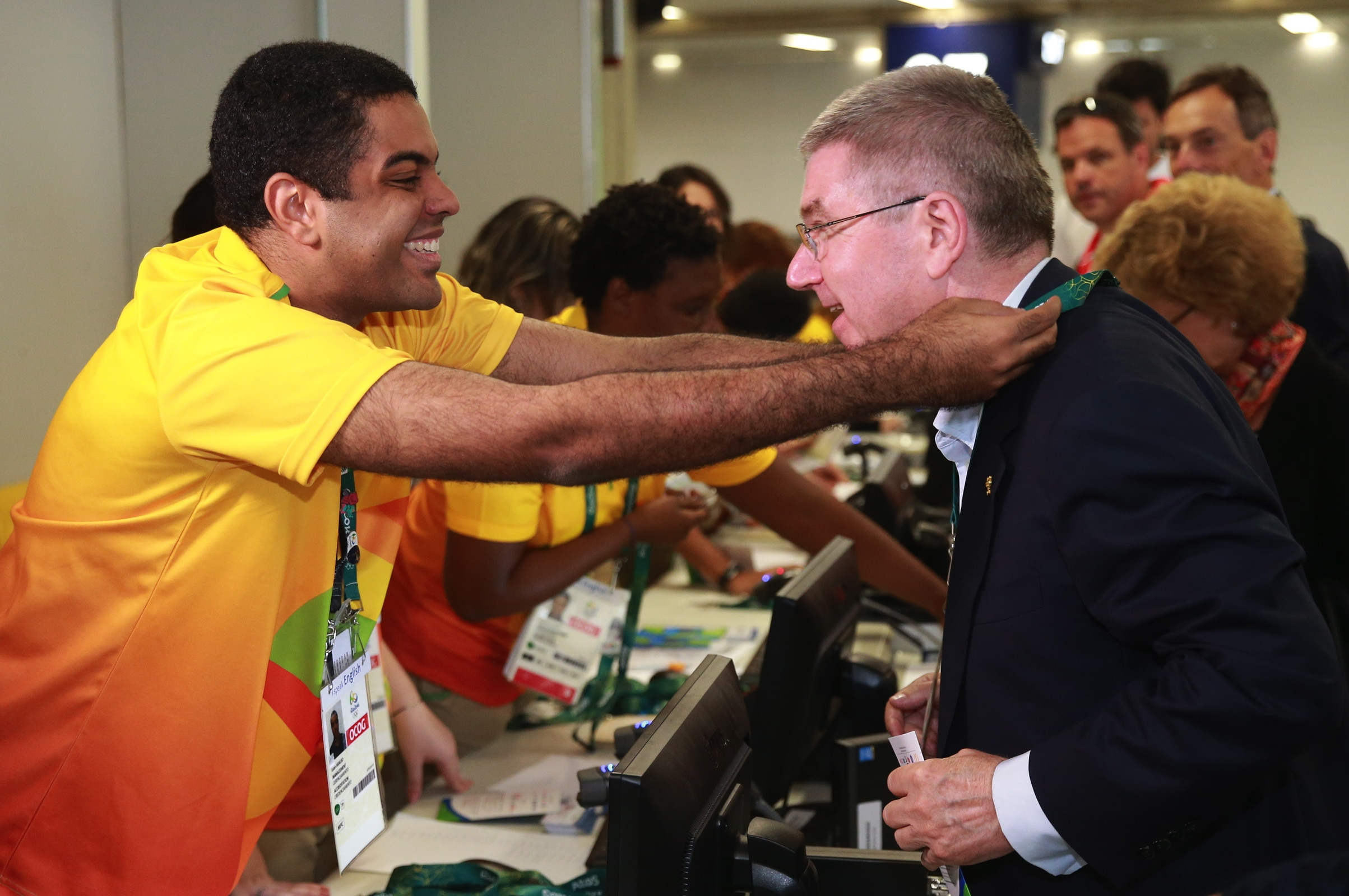 IOC President Thomas Bach drives at Rio De Janeiro airport to attend the Rio 2016 Olympic Games.
