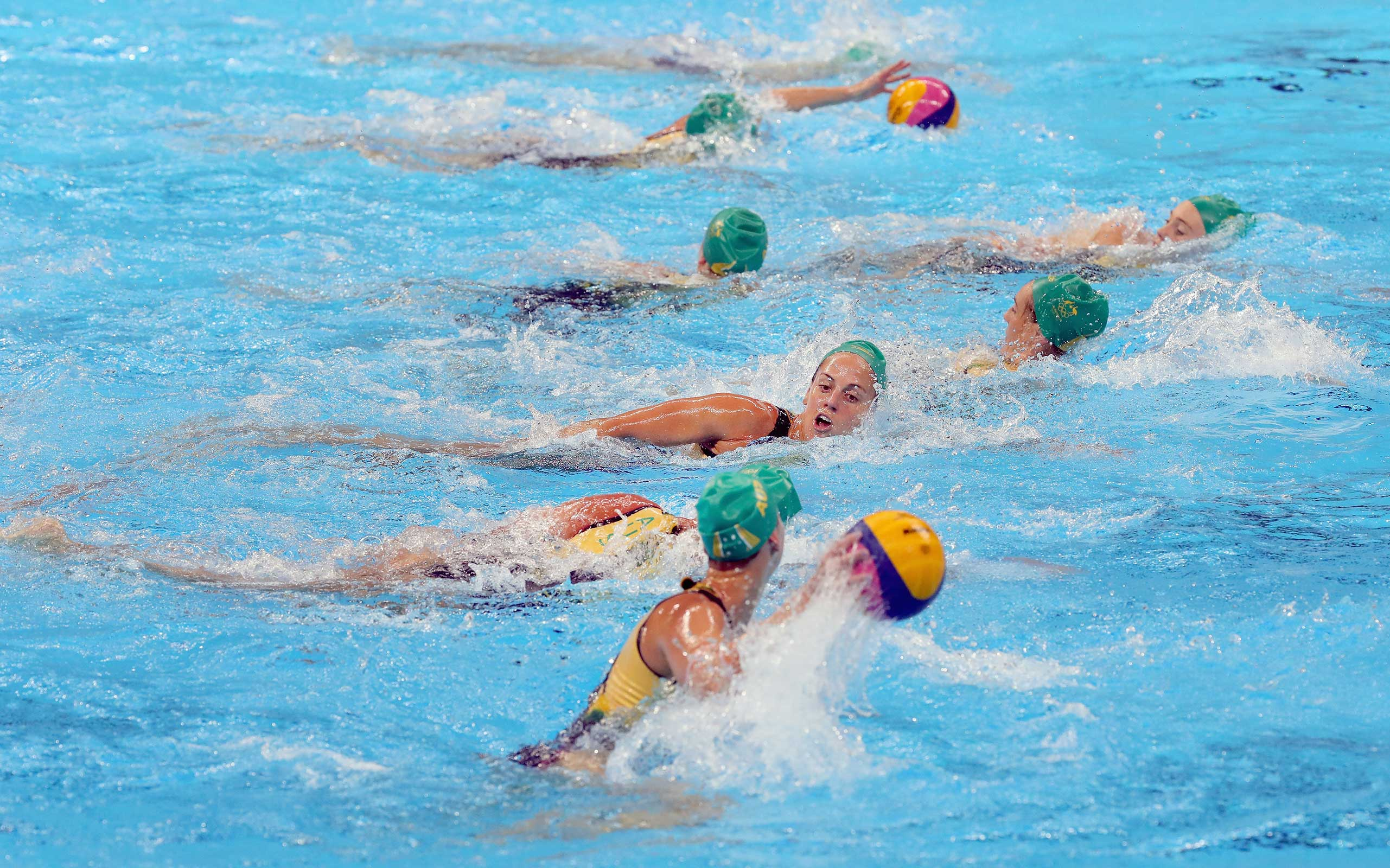 Members of the 2016 Australian Olympic Women's Water Polo Team during a training session at the Olympics Aquatics Stadium on August 3, 2016 in Rio de Janeiro, Brazil.