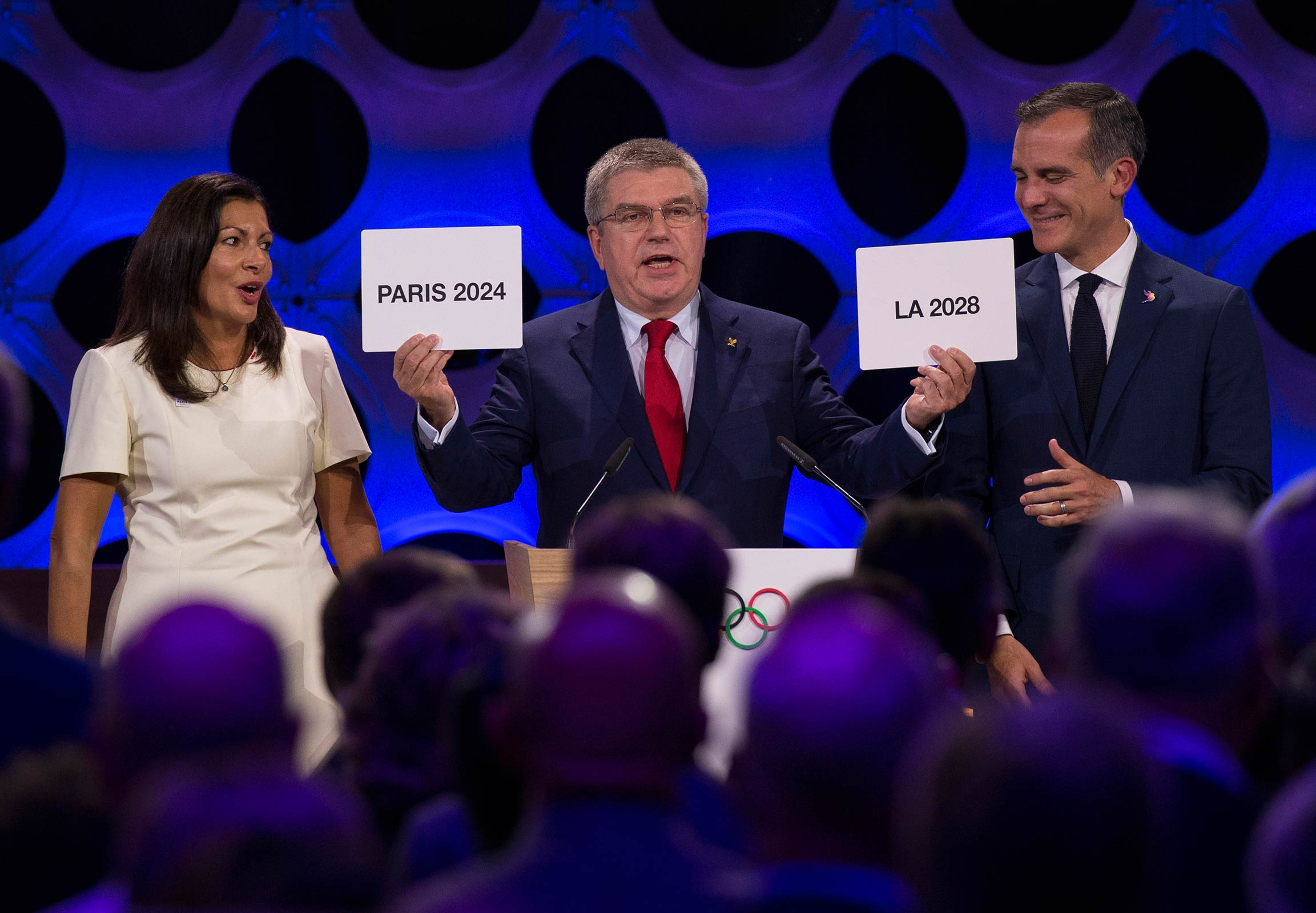 IOC Session in Lima - Mayor of Paris, Anne Hidalgo, IOC President Thomas Bach and Eric Garcetti, Mayor of Los Angeles celebrate the attribution of the Olympic Games 2024 to Paris and 2028 to Los Angeles.