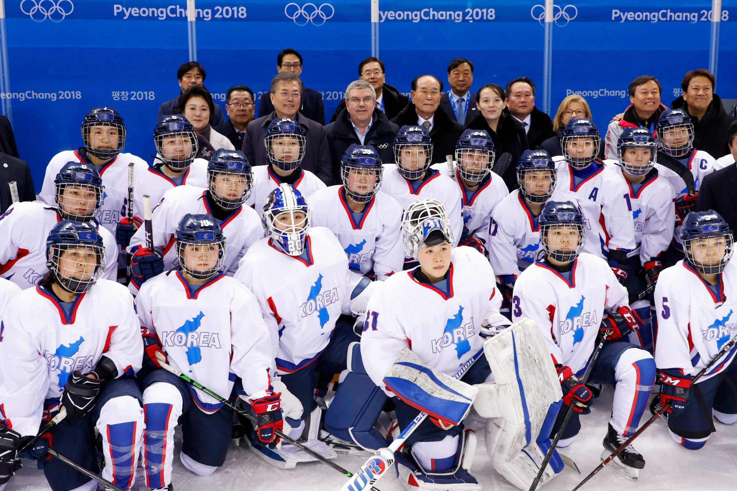 IOC President Thomas Bach meets Unified Korean Women's Ice Hockey team