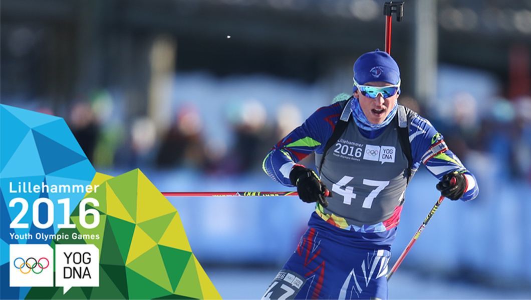 Emilien Claude (FRA) médaille d'or au Biathlon  7,5km sprint hommes - ​Lillehammer 2016 ​Youth Olympic Games​
