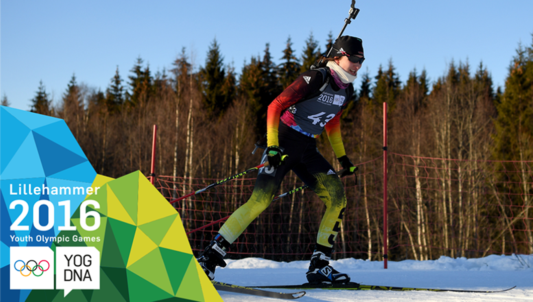 Juliane Fruehwirt (GER) wins Women's Biathlon 6km Sprint gold - ​Lillehammer 2016 ​Youth Olympic Games​