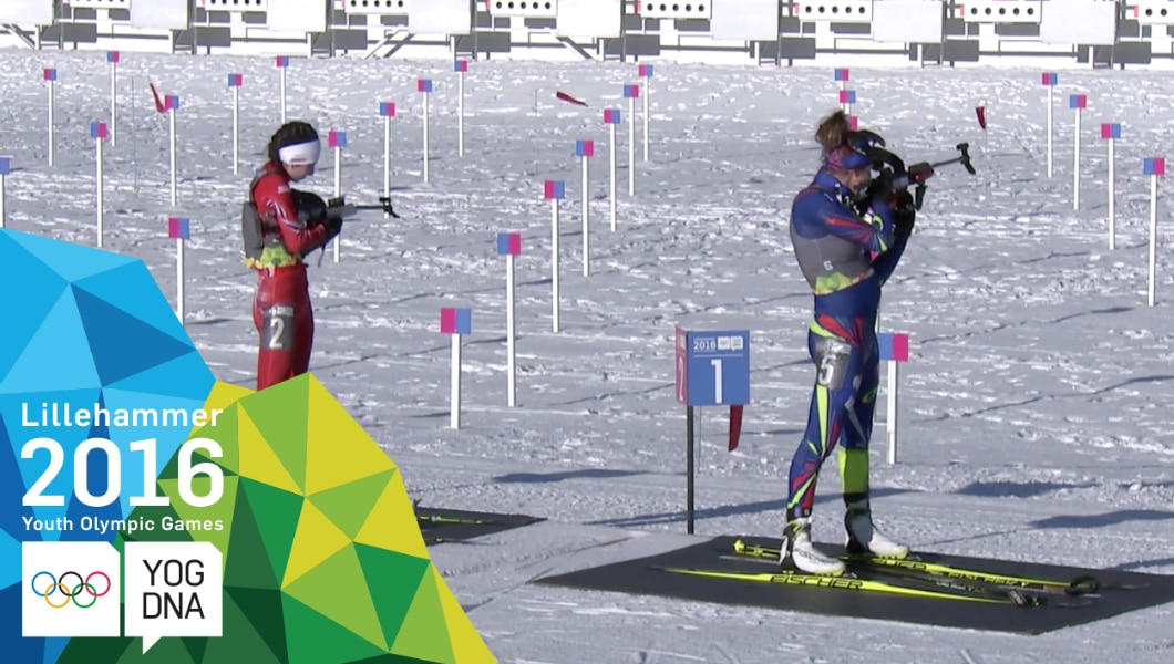 Khrystyna Dmytrenko (UKR)  médaille d'or au Biathlon 7.5 km poursuite femmes - Lillehammer 2016 Youth Olympic Games