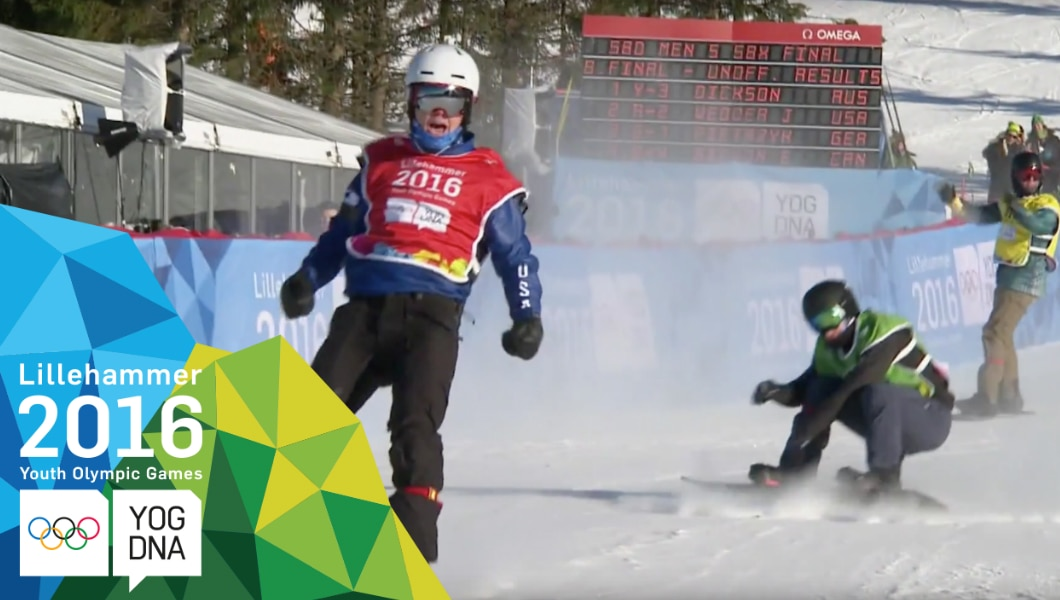 Jake Vedder (USA) médaille d'or Snowboard Cross hommes - Lillehammer 2016 Youth Olympic Games