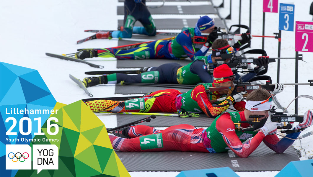 Meng & Zhu (CHN) médaille d'or - Biathlon - relais mixte simple - Lillehammer 2016 Youth Olympic Games